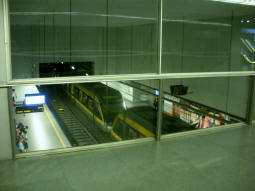 Looking down to the line D platforms (southbound nearest) from the interchange level