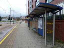 The platform for trams to Middlewood or Malin Bridge